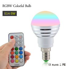 5W RGB E14 Led Bulb Lights White Dimmable  lampadine Lights+IR Remote Controller
