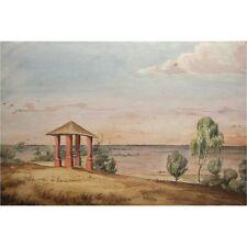 African Gazebo Savana Evening Horizon Vista Primitive Watercolour Painting