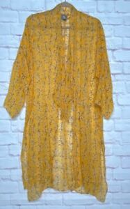 OS/One-Size New Vince Camuto Chiffon Floral Marigold Yellow Kimono Duster Topper