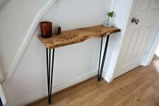 Oak Console Hallway Table Hairpin Legs, Industrial, handmade Solid Wood