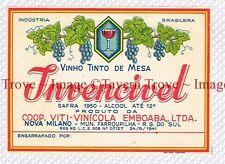 1950 BRASIL Rio Grande Sul Viti-Vinicola INVENCIVEL VINHO TINTO DE MESA Label