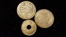 1916 EGYPT LOT 2 5 &  PIASTRES SILVER COINS & 2 MILS  SCARCE EGYPT COIN
