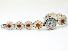 PEARL:WOMENS' ANTIQUE SILVER PLATED CITRON ORANGE COLOR STONES ANALOG WATCH
