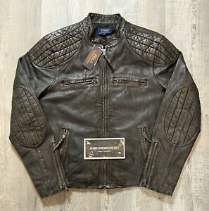 Polo Ralph Lauren Racer Leather Biker Jacket Black Brown Men's Sz Large NWT $598