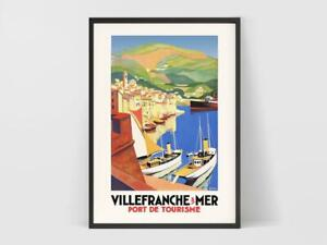 Villefranche-Sur-Mer France Vintage Travel Poster 1930 Pretty Gift For Home
