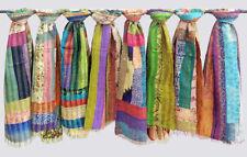 Indian handmade vintage silk kantha patchwork Reversible scarves 10 pcs Lot
