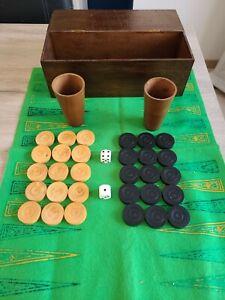 ancien jeu de Backgammon en bois complet!