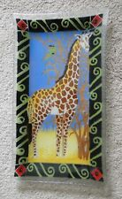 """PEGGY KARR Fused Glass Platter Signed and Retired 16"""" GIRAFFE TRAY"""