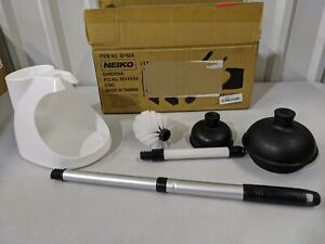 Neiko 60168A Toilet Plunger Telescopic Aluminum Handle Cleaning Brush Caddy Set
