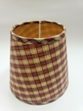 Vtg Country Primitive Burgundy Red Small Plaid  Fabric Lampshade Lamp Shade 5×6""