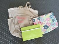 Thirty One  tan canvas Tote Bag Purse Embroidered mommy's stuff diaper bag