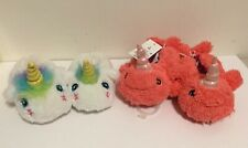 Cat & Jack Toddler Girls 5/6 Fuzzy House Slippers Unicorn & Narwhal
