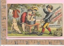 BUCHAN'S CARBOLIC LAUNDRY SOAP WASHBOARD DOLL CLOTHESLINE NY VICT ADV TRADE CARD