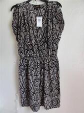 AKIKO SURPLUS V-NECK SILK DRESS, Dark beige, Size L, MSRP $211