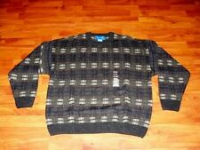 TOWNCRAFT Brown Crewneck Sweater Plaid Checks