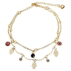 14k gold filled double row hamsa evil eye color stone anklet with extension