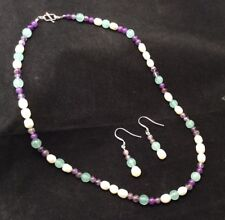 Aqua Quartz Necklace & Earrings Set Sterling Silver Amethyst Freshwater Pearl &