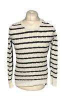 Superdry Women's Jumper Black White Striped Winter UK 12 EU 40 100% Cotton