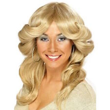 Womens 70's Flick Wig Blonde Hen Disco Fun Pop Icon Star Fancy Dress Night Fever