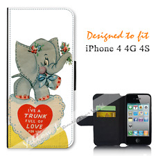 For Apple iPhone 4 4G 4S Wallet Flip Phone Case Cover Trunk Full of Love Y00833