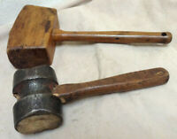 Vintage Wood Mallet Woodworking & Cast Iron With Wood Core Hammer - 2 Piece Lot