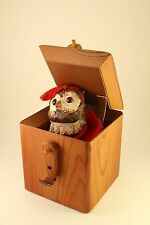Vtg Leather Wood Cube Folk Art Jack-in-the-Box Toy Ceramic Sculpture Signed 1973