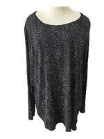 APT 9 knit top size 2X long sleeve black white rayon blend