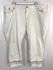Old Navy womens plus size 24 plus cream embroidered cropped pants jeans mi15