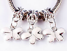 3pcs painted white butterfly big hole beads European charm pendant bracelet A784