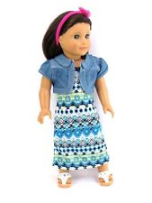 Tribal Print Maxi Dress + Denim Jacket 18 in Doll Clothes Fits American Girl