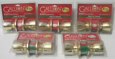 LOT of 5 - Hall and Closet Door Knobs Bright Brass by Gallion Non - Locking New