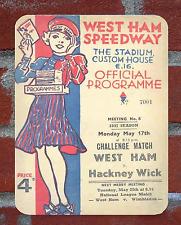 Vintage Tin Sign 1937 West Ham Speedway Programme Metal Sign Man Cave