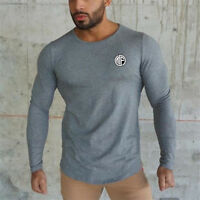 Men's Quick Dry Fit Cotton Long Sleeves Shirts Crop Tops Sport Workout T-shirts