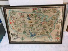 Vintage 1964 Framed Usa State Flower Map Hand Made Embroidery Artist Signed