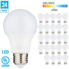 24 Pack LED A19 Bulb 9W 60W Equivalent Non Dimmable 4000K Cool White Medium E26