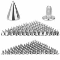100pcs 7x10mm Metal Cone Screwback Spikes Stud Leather Cloth Craft DIY  Punk