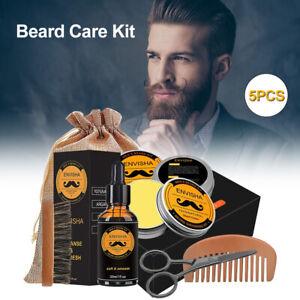 5pcs Men Beard Care Kit Growth Grooming Trimming Oil Shampoo Scissors Gift Set