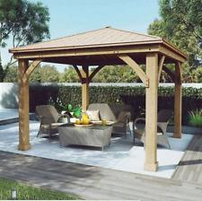 Cedar Gazebo Metal Aluminum Roof 12 X12 For Wood Deck Canopy Outdoor Patio NOTAX
