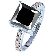 3.42 ct opaque BLACK MOISSANITE PRINCESS & NATURAL ROUGH DIAMOND.925 SILVER RING