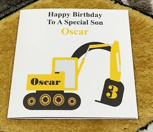 Personalised Boys Birthday Card Construction Digger 2nd 3rd 4th 5th Relation