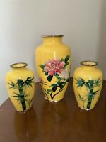 Set of 3 Japanese Silver Wire Cloisonne Vase Yellow Rose