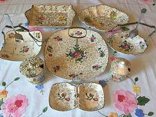 8 Vintage Midwinter TEA SHOP ITEMS CAKE STANDS Gold Chintz Pink Rose JOB LOT