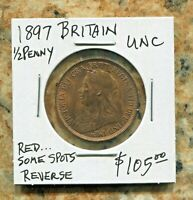 GREAT BRITAIN - SPECTACULAR HISTORICAL QV HALF PENNY, 1897, KM# 789