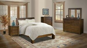 Amish Modern 5-Pc Bedroom Set Panel Bed Solid Wood Queen King