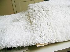 White microfiber shag long bath runner rug with backing