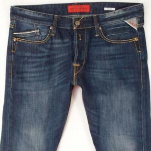 Hommes Replay M983 WAITOM Ajusté Straight Bleu Jeans W34 L34