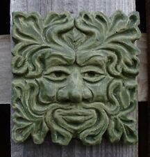 small Square Green Man garden wall ornament hand made