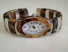 SILVER/TORTOISE SHELL FINISH DRESSY/CASUAL FASHION WOMEN'S BANGLE CUFF WATCH