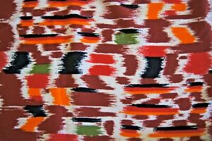 """Over 3 Yards Brown Yellow Green Orange Paint Marks Silky Blend Fabric 112"""" X 58"""""""