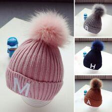 As Mulheres Crianças Bebês Meninos E Meninas Fur Pom chapéu de inverno quente Touca Gorro Malha Bobble quente